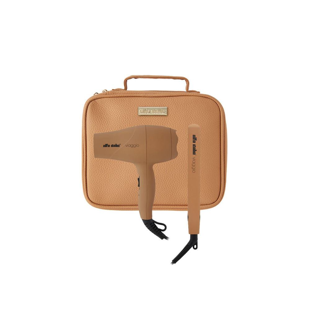 Alfa Italia Viaggio Travel Hairdryer and Styler Carrycase in Caramel
